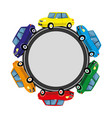 round sign with cars on the road vector image vector image