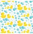 rubber ducks in soap bubbles seamless pattern vector image