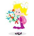 schoolgirl with flowers vector image vector image