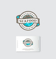 seafood restaurant logo sea waves ribbon lettering vector image vector image