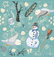seamless winter pattern with snowman and owls vector image