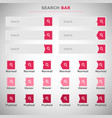 set of search bars boxes with red button vector image vector image