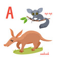 set of wild animals in cartoon style vector image