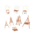 set of wooden easel on white background vector image vector image