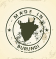 Stamp with map of Burundi vector image vector image