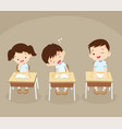 student boy sleeping in classroom vector image vector image