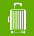 suitcase on wheels icon green vector image vector image