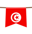 tunisia national flags hangs on rope vector image vector image