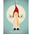 Vintage christmas card with cute girl gnome vector image