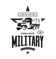 vintage military truck logo vector image vector image
