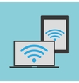 wifi laptop and tablet background vector image vector image