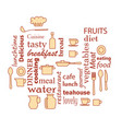 word collage for kitchen and cooking vector image vector image