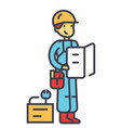 worker with plan and tools concept line vector image