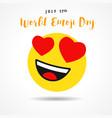 world emoji day heart emoticon banner vector image