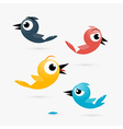 Yellow Red and Blue Birds Isolated on White vector image vector image