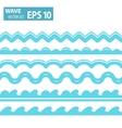 blue wave icons set on white background vector image
