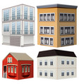 four styles of buildings vector image