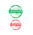 green and red approved dirty grunge circle stamp vector image