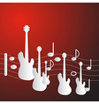 Abstract Red Music Background Guitars and Staff vector image