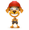 labor day yellow dog builder in protective helmet vector image