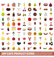 100 cafe product icons set flat style vector image vector image