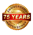 75 years anniversary golden label with ribbon vector image