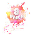 8 march card on pink watercolor background vector image vector image