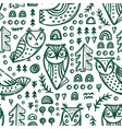 abstract green owls seamless pattern vector image