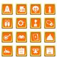 april fools day icons set orange vector image vector image