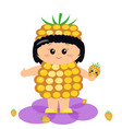 baby in the costume of a yellow raspberry vector image vector image