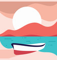 beach landscape with a leaning boat in flat style vector image