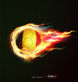 Belgium flag with flying soccer ball on fire vector image vector image