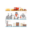 bread production process stages from wheat harvest vector image vector image