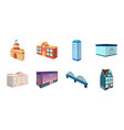 building and architecture icons in set collection vector image vector image