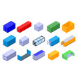 cargo container icons set isometric style vector image vector image