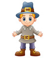 cartoon boy pilgrim vector image vector image