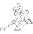 Cartoon boy playing hockey vector image vector image