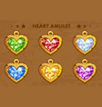 cartoon golden heart love amulets vector image