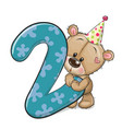 cartoon teddy bear and number two isolated