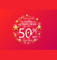 christmas sale concept on bright red background vector image vector image