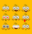 comic doodle smile face angry sad cut vector image vector image