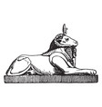 crouching ram head sphinx has a head a ram and vector image vector image