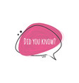 did you know - speech bubble with question for vector image vector image