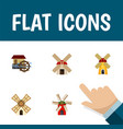 flat icon mill set of windmill ecology wheel and vector image