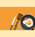 fried egg and tomato in frying pan vector image vector image