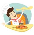 Funny chef preparing pizza dish in the kitchen vector image vector image