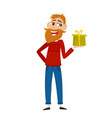 geeky hipster with beard in red sweater offering vector image