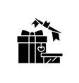 gift and decoration black icon sign on vector image