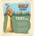 golden trophy golf tournament vector image vector image