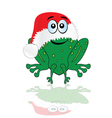 green frog with christmas red hat vector image vector image
